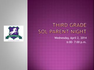 Third Grade SOL Parent Night