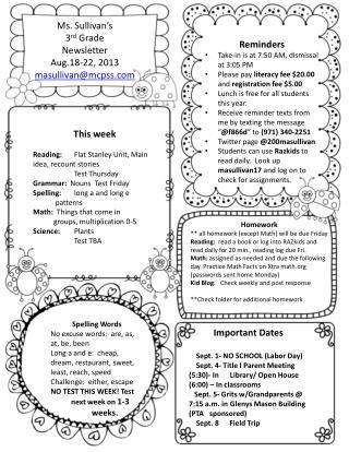 Ms . Sullivan's 3 rd  Grade  Newsletter  Aug.18-22, 2013 masullivan@mcpss
