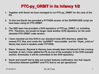 PTC- py_ORBIT  in its Infancy 1/2