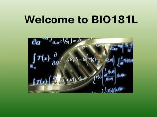 Welcome to BIO181L