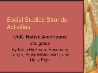 Social Studies Strands Activities