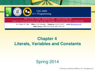 Chapter 4  Literals, Variables and Constants