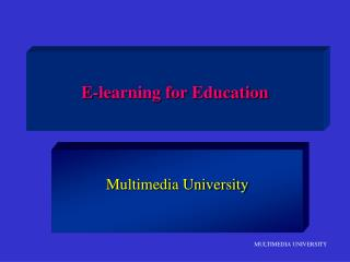 E-learning for Education