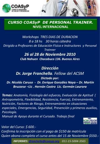 CURSO COASyP  DE PERSONAL TRAINER. NIVEL INTERNACIONAL