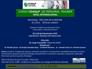 CURSO  COASyP   DE PERSONAL  TRAINER NIVEL INTERNACIONAL