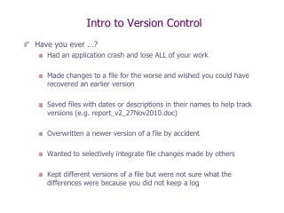 Intro to Version Control