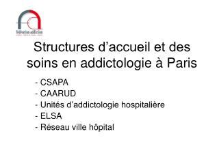Structures d'accueil et des soins en addictologie à Paris