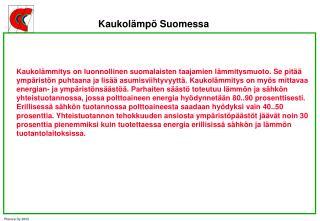 Kaukolämpö Suomessa