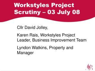 Workstyles Project Scrutiny – 03 July 08