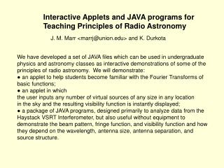 Interactive Applets and JAVA programs for  Teaching Principles of Radio Astronomy