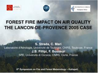 FOREST FIRE IMPACT ON AIR QUALITY THE LANCON-DE-PROVENCE 2005 CASE