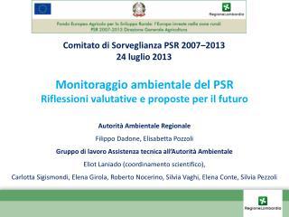 Monitoraggio ambientale del PSR  Riflessioni valutative e proposte per il futuro