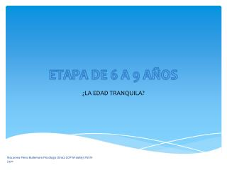 ETAPA DE 6 A 9 AÑOS