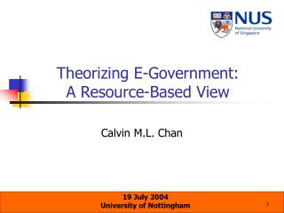 Theorizing E-Government:  A Resource-Based View
