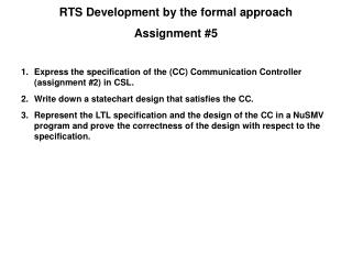 Express the specification of the (CC) Communication Controller (assignment #2) in CSL.