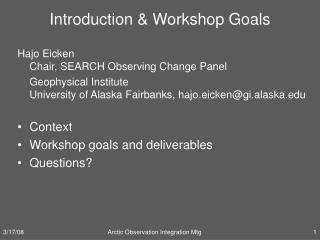 Introduction & Workshop Goals