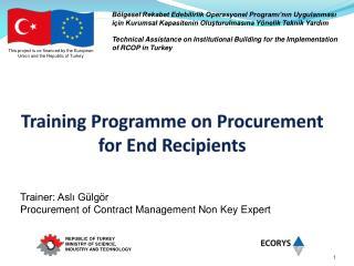 Training Programme on Procurement for End Recipients
