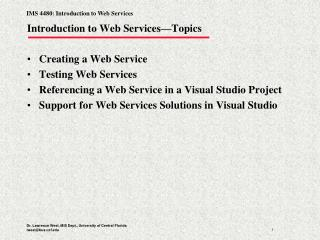 Introduction to Web Services—Topics