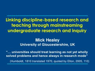 Linking discipline-based research and teaching through mainstreaming undergraduate research and inquiry