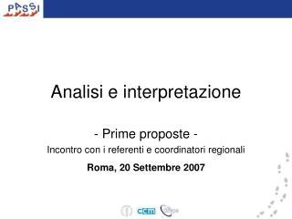 Analisi e interpretazione