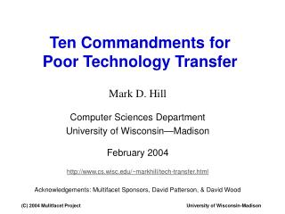 Ten Commandments for Poor Technology Transfer