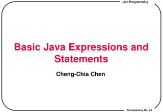 Basic Java Expressions and Statements