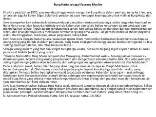 Bung Hatta sebagai Seorang Muslim