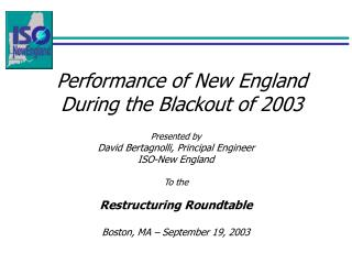 Performance of New England During the Blackout of 2003