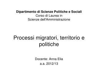 Docente: Anna Elia a.a. 2012/13