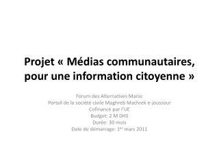 Projet  «Médias communautaires, pour une information citoyenne»