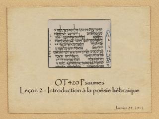OT420 Psaumes Leçon 2 - Introduction à la poésie hébraique