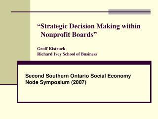 Second Southern Ontario Social Economy Node Symposium (2007)
