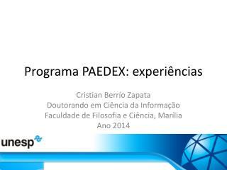 Programa PAEDEX: experiências