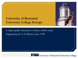 University of Maryland  University College Europe