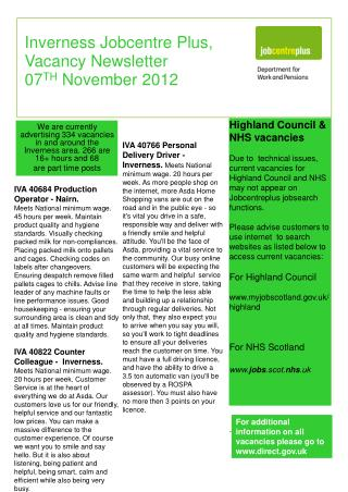 Inverness Jobcentre Plus, Vacancy Newsletter 07 TH  November 2012