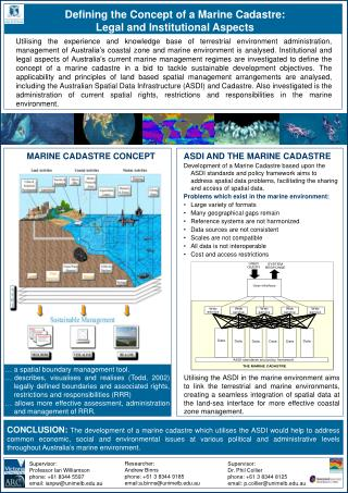 Defining the Concept of a Marine Cadastre:  Legal and Institutional Aspects