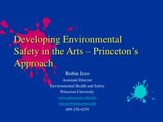 Developing Environmental Safety in the Arts – Princeton's Approach