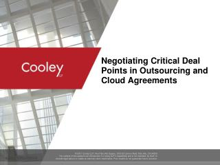 Negotiating Critical Deal Points in Outsourcing and Cloud Agreements