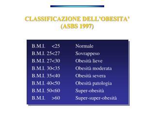 CLASSIFICAZIONE DELL'OBESITA' (ASBS 1997)