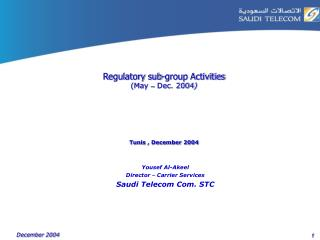 Regulatory sub-group Activities  (May  –  Dec. 2004 ) Tunis , December 2004