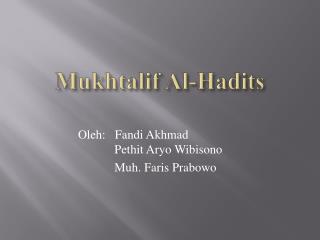 Mukhtalif Al-Hadits