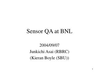 Sensor QA at BNL