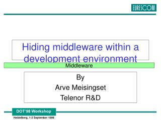 Hiding middleware within a development environment