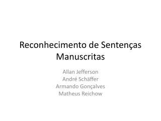 Reconhecimento de Sentenças Manuscritas