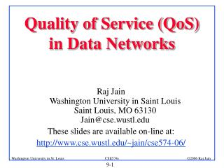 Quality of Service (QoS)  in Data Networks
