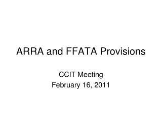 ARRA and FFATA Provisions