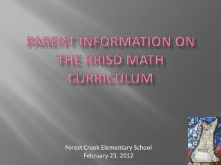 Parent Information on the  RRISd  Math Curriculum