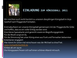 Einladung  zum Königsball 2011