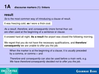 1A    discourse markers (1): linkers