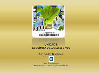 """UNIDAD II LA QUÍMICA DE LOS SERES VIVOS """"Los Ácidos Nucleicos"""""""